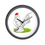 White d'Uccle Rooster Wall Clock