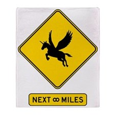 Caution Pegacorns Throw Blanket