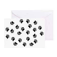 BLACK PAW PRINTS Greeting Card