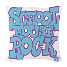 2-schoolhouserock_blue_REVERSE Woven Throw Pillow