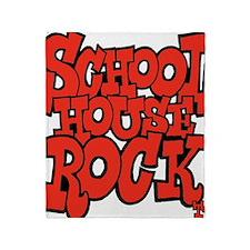 3-schoolhouserock_red Throw Blanket