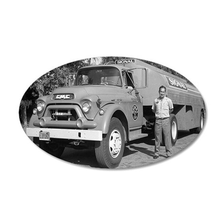 SignalOilTruck 35x21 Oval Wall Decal