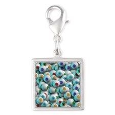 Eyeballs In Many Colors Silver Square Charm