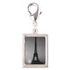 Eiffel Tower Black n White Silver Portrait Charm
