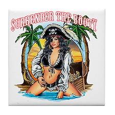 SurrenderTheBooty_darks Tile Coaster