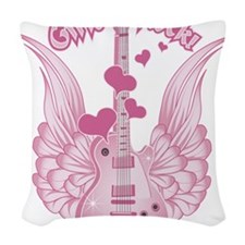 Girly Winged Guitar Woven Throw Pillow