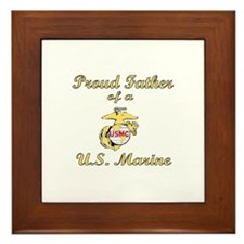Proud Father of a US Marine Framed Tile