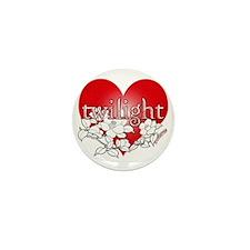 Twilight flower heart by twibaby Mini Button