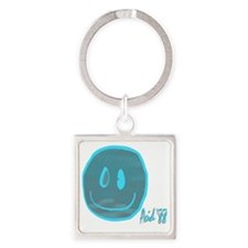 2-blue smiley Square Keychain