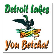 "Detroit Lakes Loon Square Car Magnet 3"" x 3"""