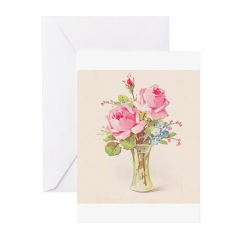 Pink roses in vase Greeting Cards