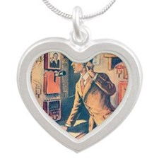 Photo Telephone closeup Silver Heart Necklace