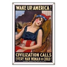 WW1 James Montgomery Flagg WAKE UP Banner
