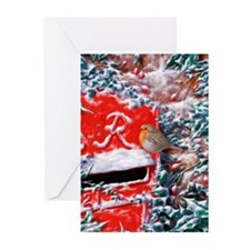 Funny Red post box Greeting Cards (Pk of 20)