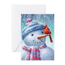 Cute Snow cardinal Greeting Cards (Pk of 10)