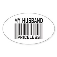 My Husband Priceless Barcode Oval Decal