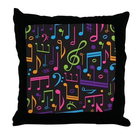 Colored Music Notes Choir Band Throw Pillow