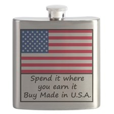 Spend it where you earn it 1400x1400 Flask