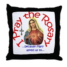 pray_button_6x6_white_slant Throw Pillow