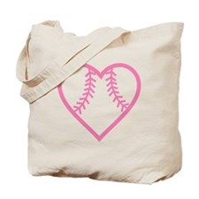 softball-heart-pink Tote Bag