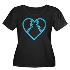 softball Women's Plus Size Dark Scoop Neck T-Shirt