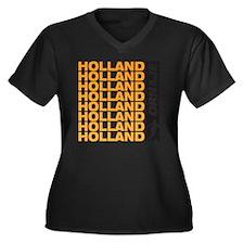 A_HLD_2 Women's Plus Size Dark V-Neck T-Shirt
