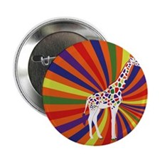 "Rainbow giraffe 2.25"" Button"