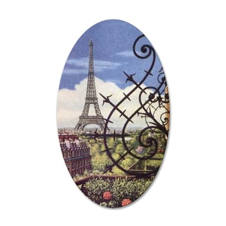 eifel tower wrought iron 35x21 Oval Wall Decal