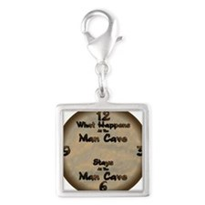What Happens at the Man Cave Silver Square Charm