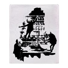 Mad-Scientist-Skeletons-BlkWht Throw Blanket