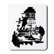 Mad-Scientist-Skeletons-BlkWht Mousepad