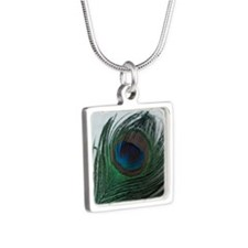 romantic peacock feather Silver Square Necklace