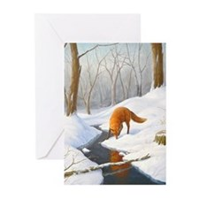 048 Fox in snow Greeting Cards