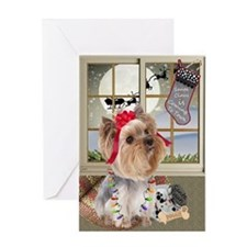 Yorkie Santa Is Coming To Town Greeting Cards