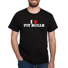 I Heart (Pawprint) Pit Bulls T-Shirt