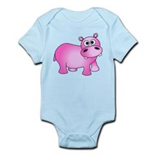 Cute Pink Baby Hippo Body Suit