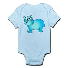 Cute Pink Baby Hippo Infant Bodysuit