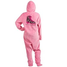 Zebra Pink and Black Ice Skate Footed Pajamas