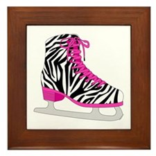 Zebra Pink and Black Ice Skate Framed Tile
