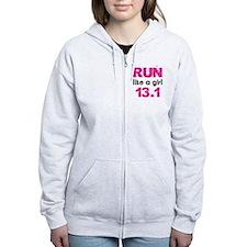 running_swirl_sticker13 Zipped Hoodie