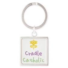 CradleCatholic_both Square Keychain