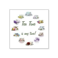 "TeaTime Clock Square Sticker 3"" x 3"""