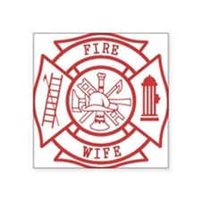 "fire wife maltese cross Square Sticker 3"" x 3"""
