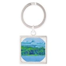 Mackinac Hotel-water Circle Square Keychain