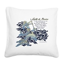 The Turtle and The Dolphin Square Canvas Pillow