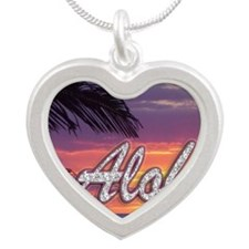 Aloha-GermainesSunset_14x10 Silver Heart Necklace
