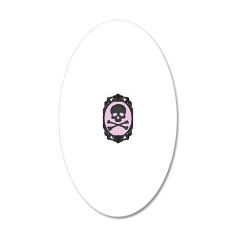 Skull and Crossbones Cameo 20x12 Oval Wall Decal