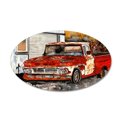 old pickup truck antique aut 35x21 Oval Wall Decal