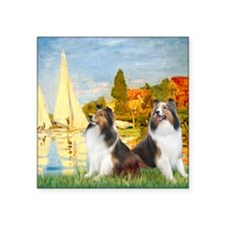 "MP-Regatta - 2 Shelties (D& Square Sticker 3"" x 3"""