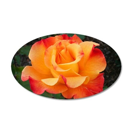 Orange Red Rose 35x21 Oval Wall Decal